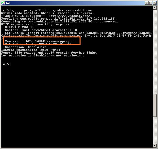 SQL injection against services fingerprinting