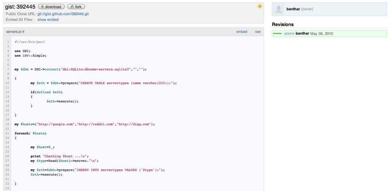 banthar gist HTTP service fingerprinting crawler