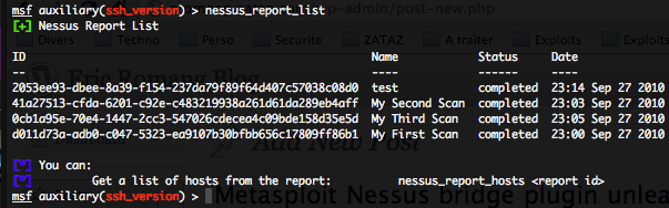 List of all Nessus reports