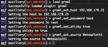 Growl Metasploit plugin configuration