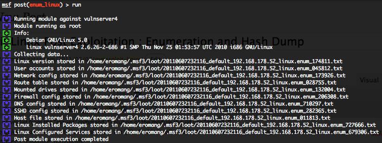 Linux enum_linux post exploitation script