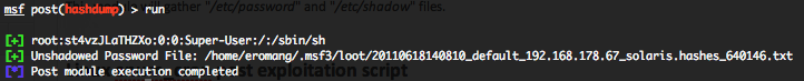 Solaris hashdump post exploitation script