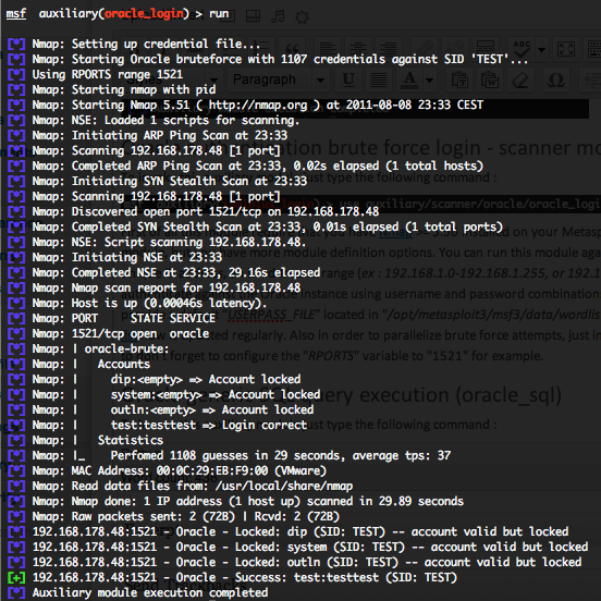 Metasploit Oracle Database Auxiliary Modules