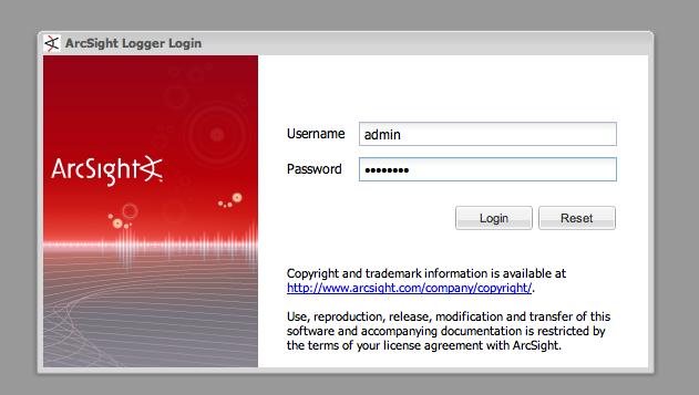 ArcSight Logger login page