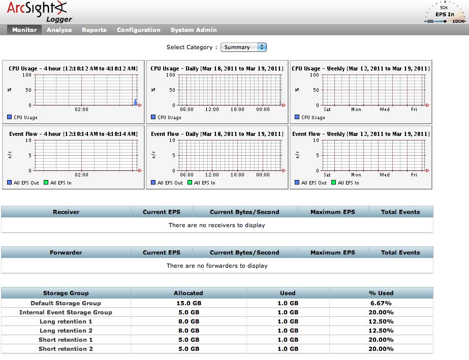 ArcSight Logger Web user interface