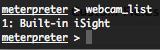 Metasploit stdapi webcam_list