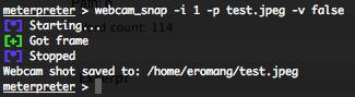 Metasploit stdapi webcam_snap extended